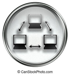 Network icon grey, isolated on white background.