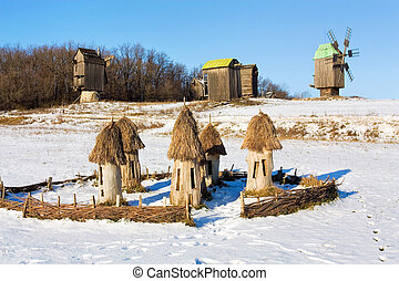 Beehives - Ukrainian old time beehives on the background of...
