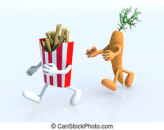running competition between carrot and potato chips, 3d...