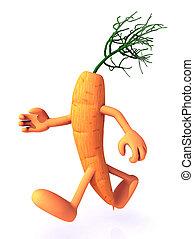 carrot cartoon running, vitamins power concept, 3d...