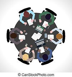 Business meeting top view - Business team meeting concept...