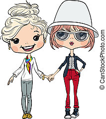 Vector hipster cute girls - Cute hipster two girls in hat...
