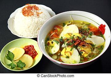 Chicken Soto - Indonesian chicken soto or soto ayam, served...