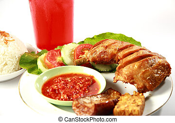 Indonesia Fried Chicken - Indonesian Fried chicken serving...