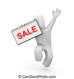 Person with ring board and word sale - Business concept...