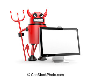 Robot Devil with monitor - New technologies metaphor....