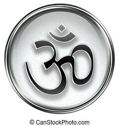 Om Symbol icon grey, isolated on white background.