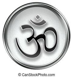 símbolo,  Om, gris, icono