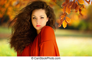 Beautiful woman in autum scene - eautiful woman in autum...