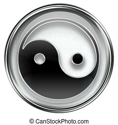 yin yang symbol icon grey
