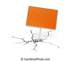 Cracked ground with billboard - Conceptual image Isolated on...
