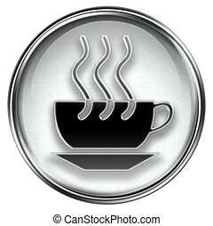 coffee cup icon grey, isolated on white background.