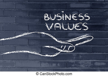 successful business values in your hands - hand holding the...