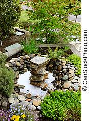 ideas, Ajardinar, hogar, jardín, fuente, rocas