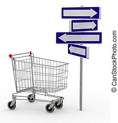 shopping cart and signage arrow, 3d illustration