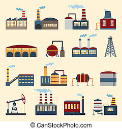 Industrial building icons - Industrial building factories...