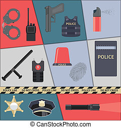 Police icons set - Police protect and serve special forces...