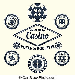 Casino emblems set - Casino lucky roulette play and win...