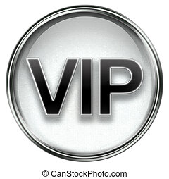 VIP icon grey, isolated on white background.