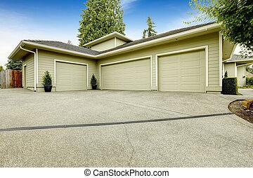 bil, tre, privat väg,  garage, yttre, Hus