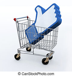shopping cart with big 3d hand up, I like concepts
