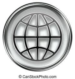 World icon grey, isolated on white background.