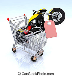 motorcycle inside the shopping cart with blank red price...
