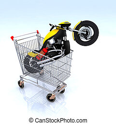 motorcycle inside the shopping cart, 3d illustration