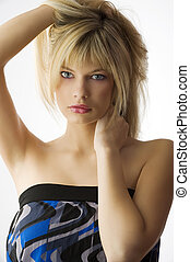 girl blond hair - Fashion portrait of a beautiful blonde...