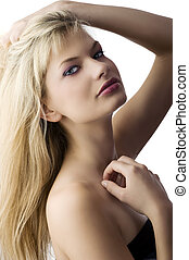 windly blond hair - Fashion portrait of a beautiful blonde...