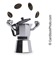 coffee pot juggles with coffee beans - coffee pot with arms...