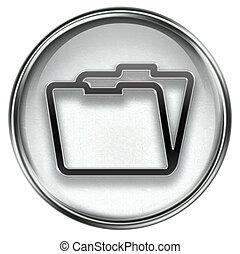 Folder icon grey, isolated on white background