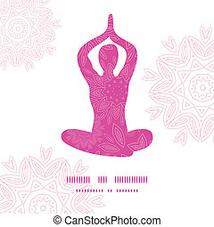 Woman in lotus yoga pose silhouette pink flowers pattern background frame