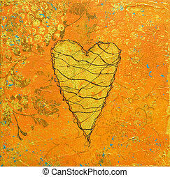 Collage heart artwork - collage painting with heart, artwork...