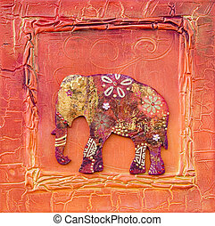 artwork with elephant indian style - collage artwork with...