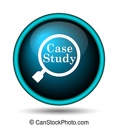 Case study icon. Internet button on white background.