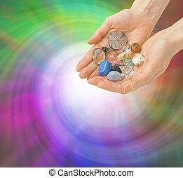 cristal, curador, energía, vórtice
