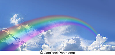 Rainbow on wide blue sky - Wide blue sky with fluffy cloud...