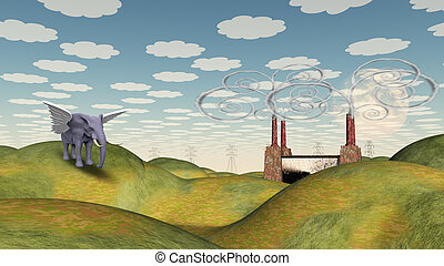 Fantasy Landscape with Winged Elephant
