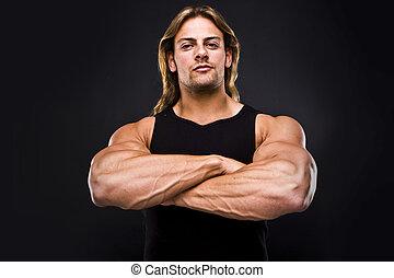 Sexy, negro, aislado,  muscular, hombre