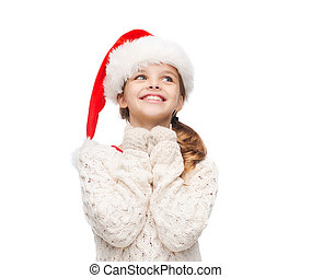 dreaming girl in santa helper hat - christmas, x-mas,...
