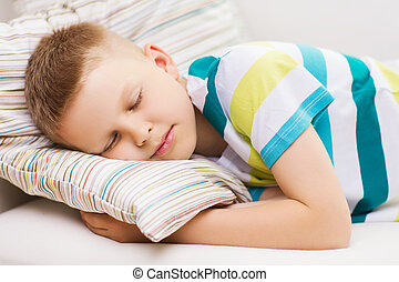little boy sleeping at home - health, sleeping and dreaming...