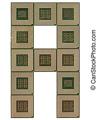 letter A  made of old and dirty microprocessors