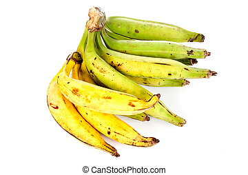 Plantain fruit over white blackground .