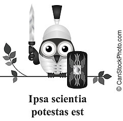 Latin knowledge - Monochrome Latin quotation Ipsa scientia...