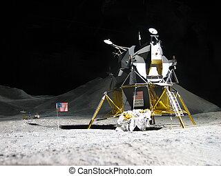 apolo,  11,  -, aterrizaje, luna