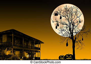 Halloween night, black dead tree with bat and old house on...