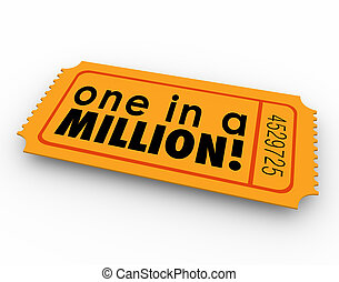One in a Million Words Raffle Ticket Winner Game Luck Chance...