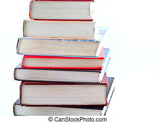 Stacks of Old Textbooks - Old Textbooks stacked on a blank...
