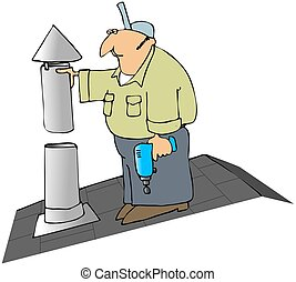 Installing A Furnace Flue Cap - This illustration depicts an...